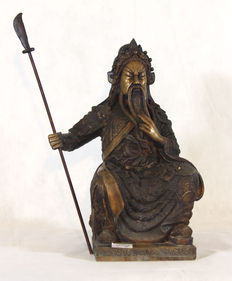 Bronze sculpture - Representation of General Guan Yu - China - end of the 20th century