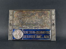 Vintage Aluminium and Enamel ADAC German International Meeting Car Auto Badge for 1972 Meeting