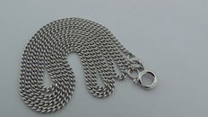 14 kt White gold curb link necklace, 45 cm