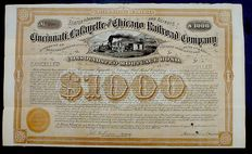 USA - Cincinnati Lafayette and Chicago Railroad Comp. 1000$ Bond 1874