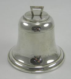 Edwardian Silver novelty bell shaped desk inkwell, A & J Zimmerman Ltd, Birmingham 1910
