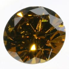 Certified brilliant cut diamond 0.23 ct, Fancy Deep Orange-Brown, Treated - VS2