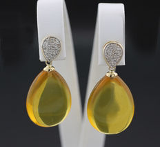 A pair of amber diamond earrings in 585 yellow gold -- No reserve price --