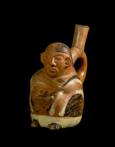 Pre-Columbian Moche figure of a man in poncho - 170 mm x 95 x 130 mm
