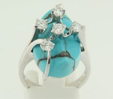 18 kt white gold ring set with turquoise and brilliant cut diamonds, ring size 17.5 (55)