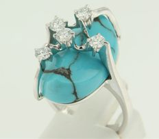 18 kt white gold ring set with turquoise and brilliant cut diamonds
