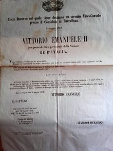 Victor Emanuel II King of Italy - Royal Decree - 1862