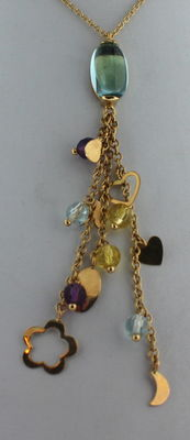 14k cocktail necklace with a shower of citrine and topaz, combined with stars and hearts, 40 cm