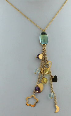 Gold cocktail necklace, 14 kt, with a shower of citrine and topaz, combined with stars and hearts, 40 cm