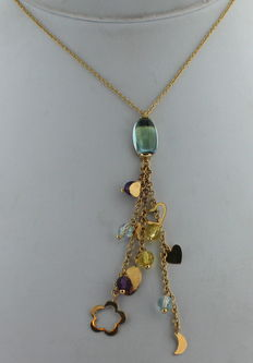 14 kt gold Cocktail Necklace, with a shower of citrine and topaz, combined with stars and hearts – 40 cm