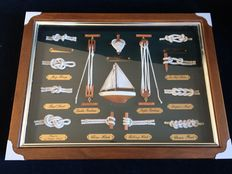 Knots board behind glass and in wooden frame.