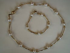 Necklace with bracelet with genuine large pearls - gold-plated silver - circa 1940