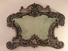 Altar card with silver foil frame and antique silver mirror - France - 18th century
