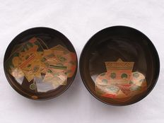 Lacquer chawan (lidded bowl) with kimono designs  – Japan – early 20th century