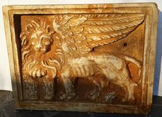 Lion of Saint Mark with an open Gospel - antique marble high-relief - Verdello (Bergamo), Italy - 19th C