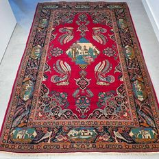 Very special old Pictorial Keshan Persian carpet - 206 x 133 - super quality - with certificate