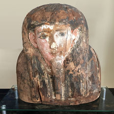 A Large Egyptian Wood Upper Sarcophagus Bust- 56.51 cm