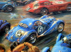 "Art print  – ""Flying Colors"" Le Mans 18th/19th June 1938 – Artist : Alfredo de La Maria"