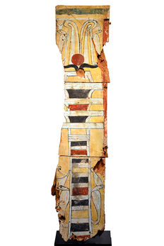 A large Egyptian Wood Sarcophagus Fragment- 113 cm