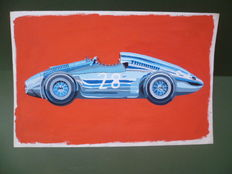 Auto-Union Type D (also called Silver Arrow ) year 1938 - 40 x 25 cm