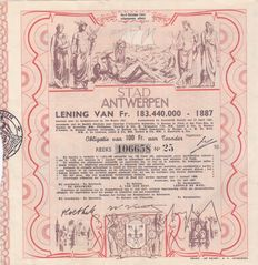 Loan bond from 1887 - City of Antwerp