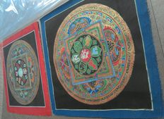Four Tibetan-style mandala paintings - Northern India - 21st century