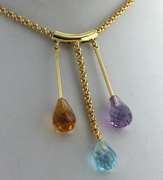 Yellow gold 14 kt necklace set with amethyst, citrine and aquamarine