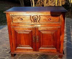 Solid walnut sideboard with two doors, from Bergamo, Lombardy (Italy) - 19th century