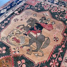 Special:   Pictorial, Hamadan, Persian carpet - 280 x 154 - with certificate.