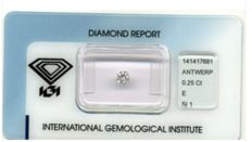 1 IGI gecertificeerde diamant - briljant - 0,25 ct - SI1/E