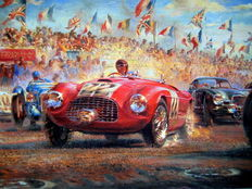 Art print  – Triple First – Ferrari 166M – Le Mans 25th/26th June 1949 – Artist : Alfredo de La Maria