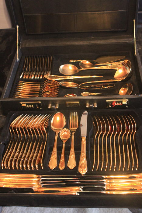 Dinnerware - fully gold-plated cutlery! SBS Solingen cutlery case 69 piece set & Dinnerware - fully gold-plated cutlery! SBS Solingen cutlery case ...