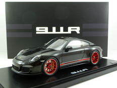 Spark Porsche Industry - Scale 1/18-  Porsche 911-R (991) 2016 - black with Matt black stripes and Red rims
