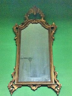 Solid wood, real leaf gold plated, Baroque wall mirror - Italy, 20th C