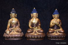 Lot with 3 goldfaced Buddha's - Nepal - 2nd half 20th century