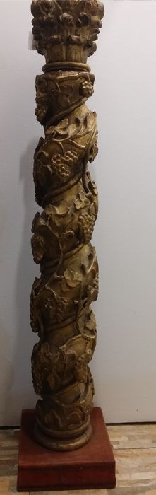 A Baroque hand carved gilded wood column, on a later base - Italy - early 18th C
