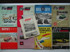 "1952 - 1955 - AUTO COURSE / MOTEURS COURSES / L'AUTO-JOURNAL ""Salon de l'Auto"" - lot of 9 car & car racing magazines in english & french languages"