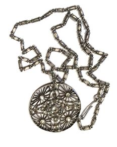 Pendant & Chain - Sterling Silver - Creation of the goldsmith manufacturer in Paris Amédée Datigny 1892 - Adorned with 54 Rhine stones - WITHOUT RESERVE -