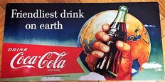 2xRarity-old Coca Cola ,,On earth,, emission 1997+Image metal deeply embossed