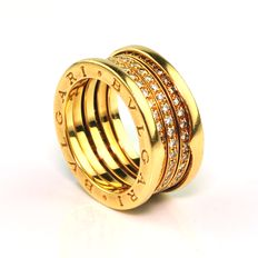 "Bvlgari - ""Bzero1"" 110 Diamond & 18K/750 Gold Ring - E.U Size 56"