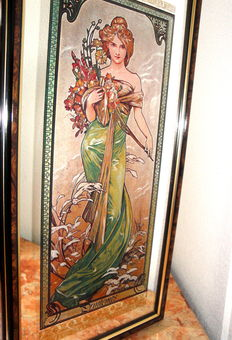 "Large Mirror ""Printemps"" - Alphonse Mucha - Art Nouveau Style"