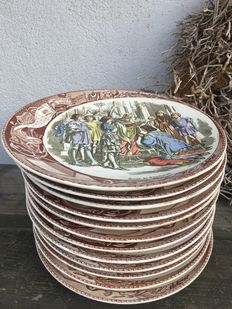 A series of in total 12 Sarreguemines wall plates with depictions of Joan of Arc's life, France, circa 1875-1900