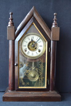 Antique Waterbury Mantel Clock Bell ,  pine case Circa 1874 US