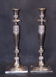 Pair of solid silver candlesticks, David Gottlieb Raudner, Germany (now Poland), Breslau, 1830