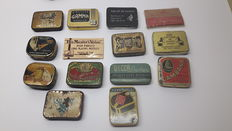 Lot of 14 gramophone needle tins, from different countries, years 1920 - 1950