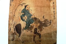 Hand painted with colour on paper, farmer with childern on the back of a buffalo - China - beginning of the 20th century