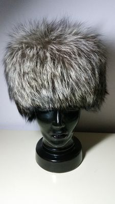 Designer hat made of genuine silver fox fur