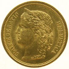 Zwitserland - 20 Francs 1883  Crowned Head  - goud