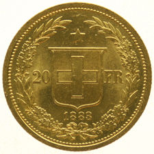 Switzerland - 20 francs 1883 Crowned Head - gold