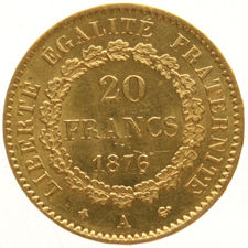 "France – 20 francs 1876A – ""Standing Genius"" – gold."